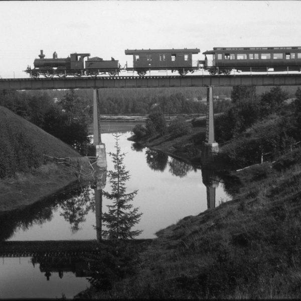 Train on a bridge.