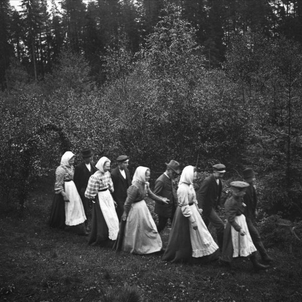 Five couples walking in the woods on a summer night.