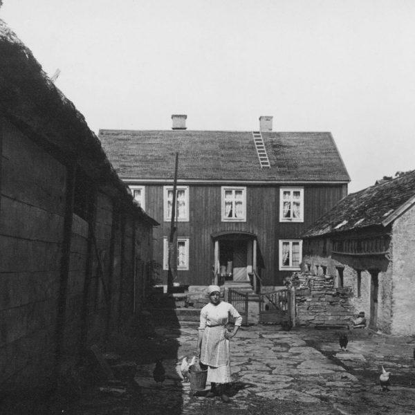 Woman in barnyard