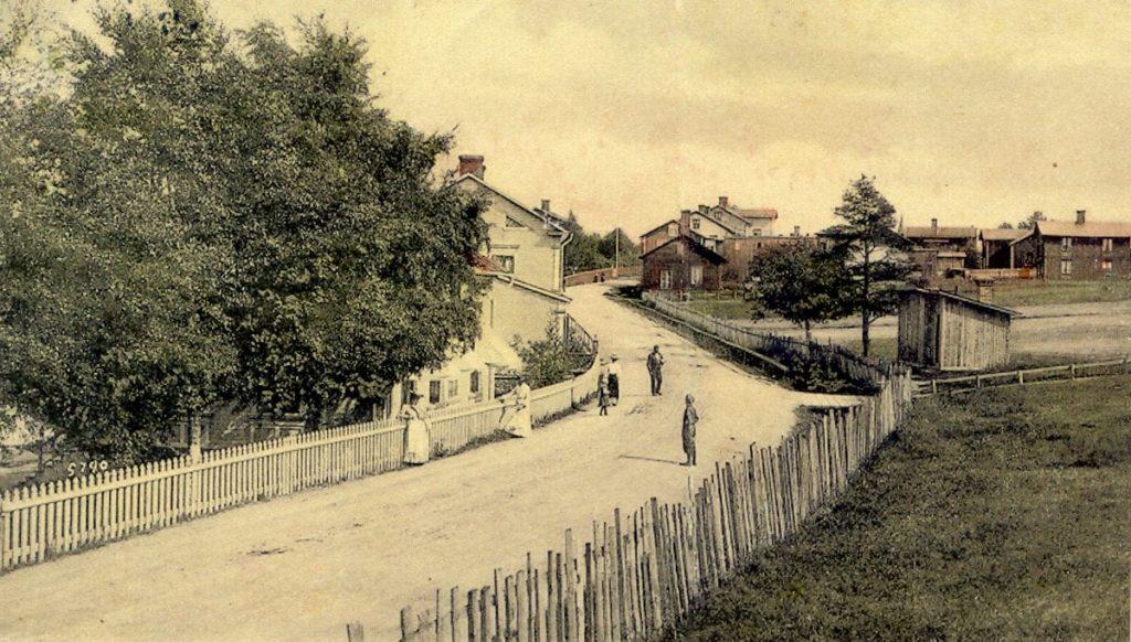 A road through a village.