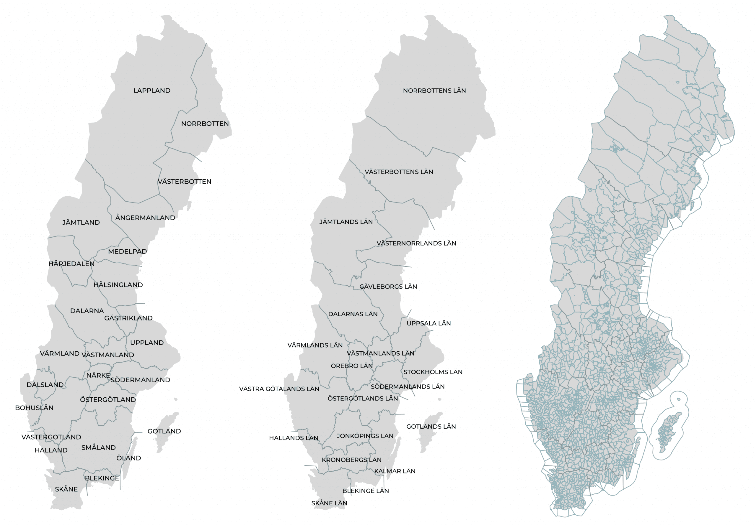 Provinces, Counties, Parishes of Sweden.