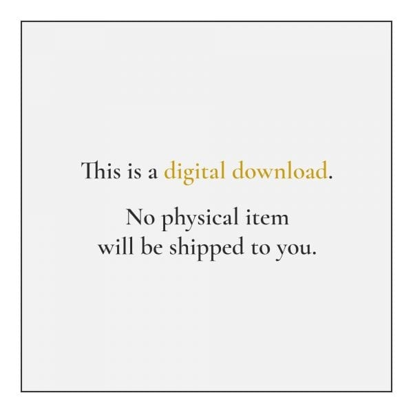 This is a digital download. No physical item will be shipped to you.