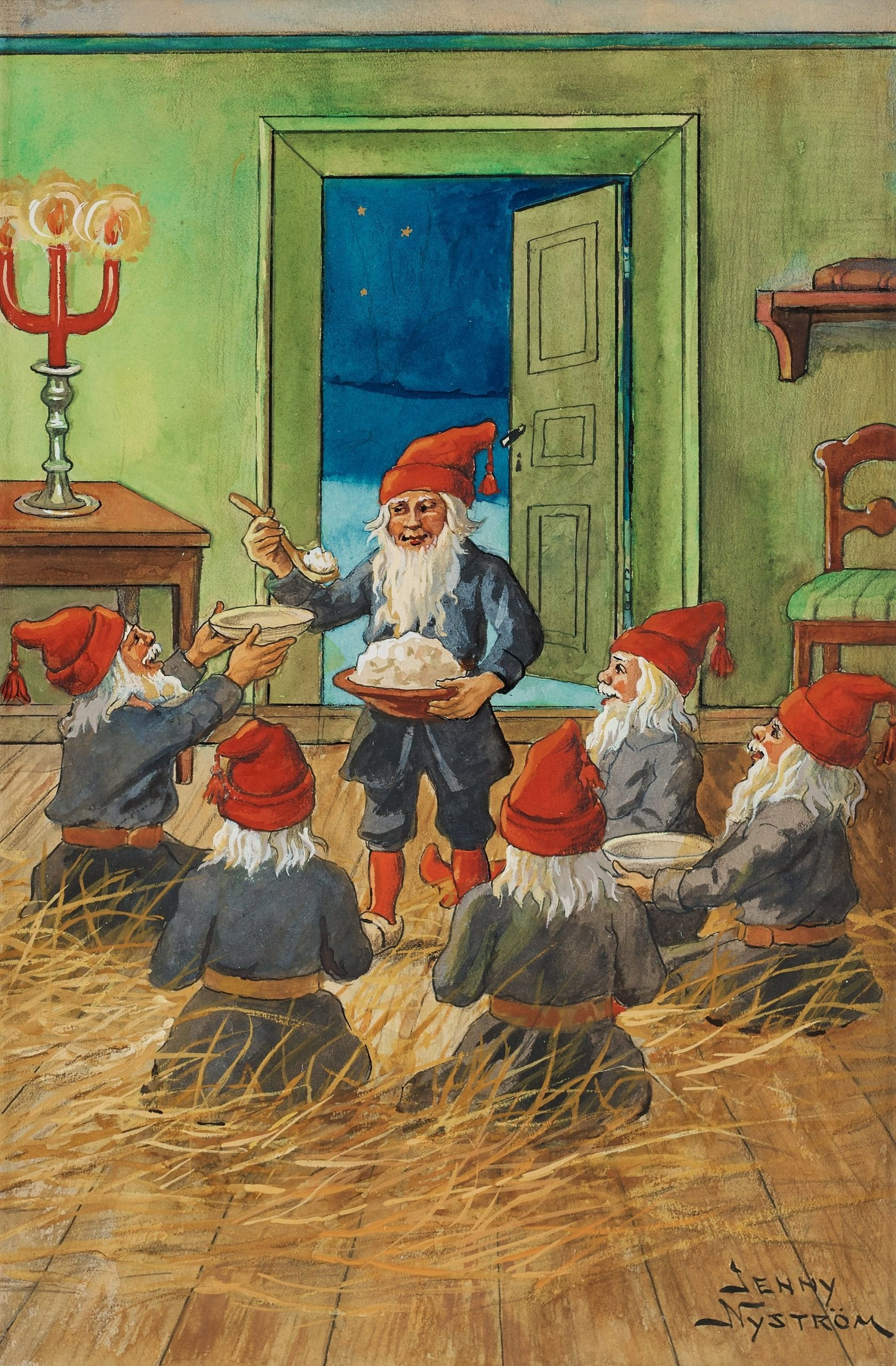 Five tomtes wearing a red top hat, a grey coat and a leather belt, sit in a circle on a floor covered with hay. In the middle is another tomte holding a bowl of porridge that he serves.